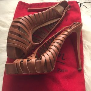 Christian Louboutin Strappy Cognac Heels